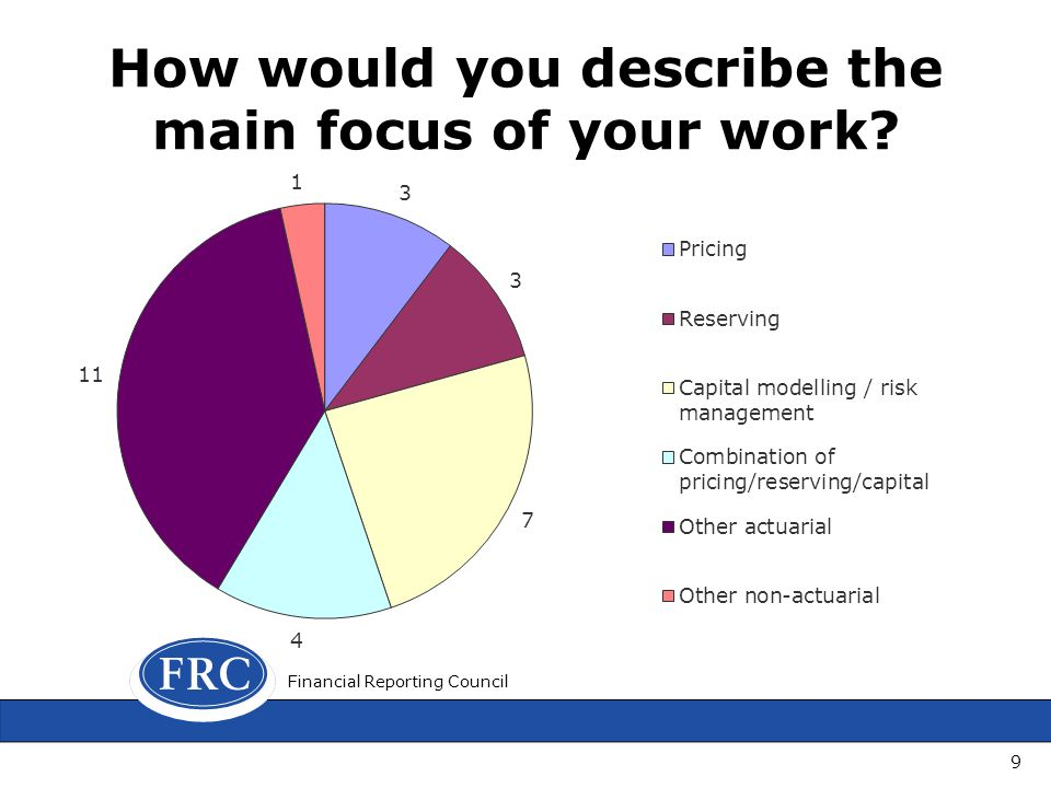 How would you describe the main focus of your work Financial Reporting Council 9