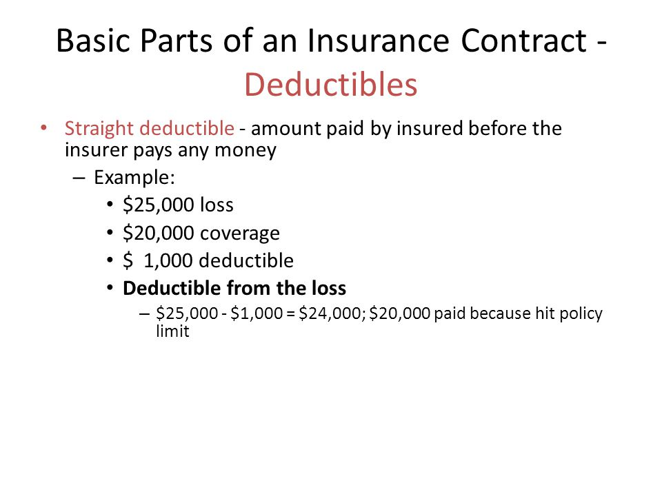 Basic Parts of an Insurance Contract - Deductibles Straight deductible - amount paid by insured before the insurer pays any money – Example: $25,000 loss $20,000 coverage $ 1,000 deductible Deductible from the loss – $25,000 - $1,000 = $24,000; $20,000 paid because hit policy limit