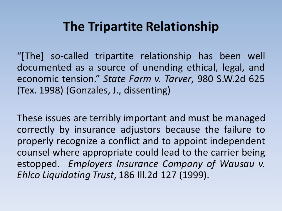 The Tripartite Relationship [The] so-called tripartite relationship has been well documented as a source of unending ethical, legal, and economic tens