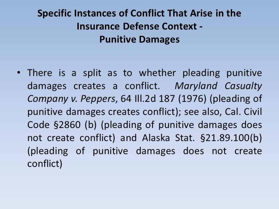Specific Instances of Conflict That Arise in the Insurance Defense Context - Punitive Damages There is a split as to whether pleading punitive damages creates a conflict.