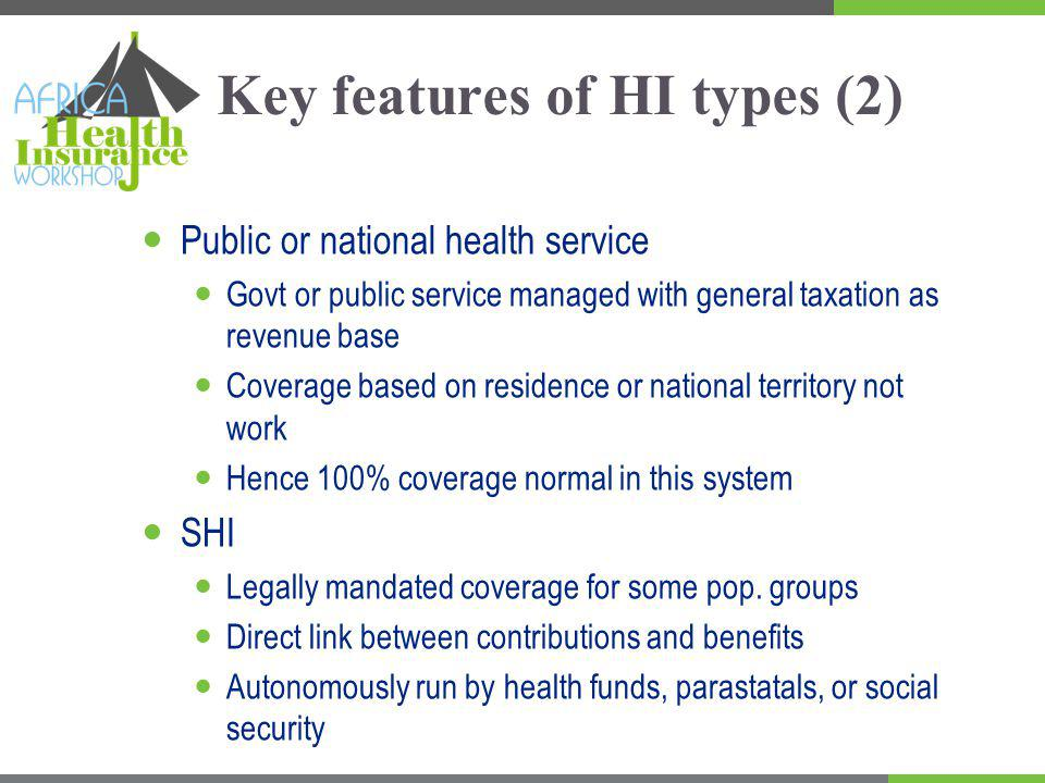 Key features of HI types (2) Public or national health service Govt or public service managed with general taxation as revenue base Coverage based on residence or national territory not work Hence 100% coverage normal in this system SHI Legally mandated coverage for some pop.