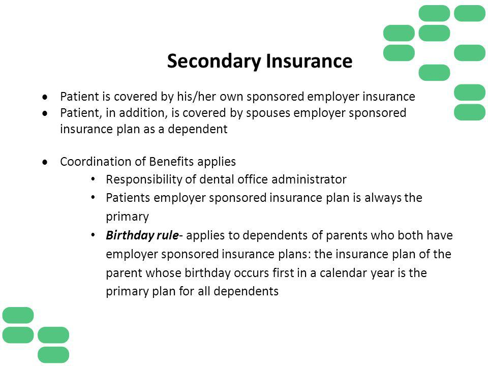 Secondary Insurance Patient is covered by his/her own sponsored employer insurance Patient, in addition, is covered by spouses employer sponsored insu