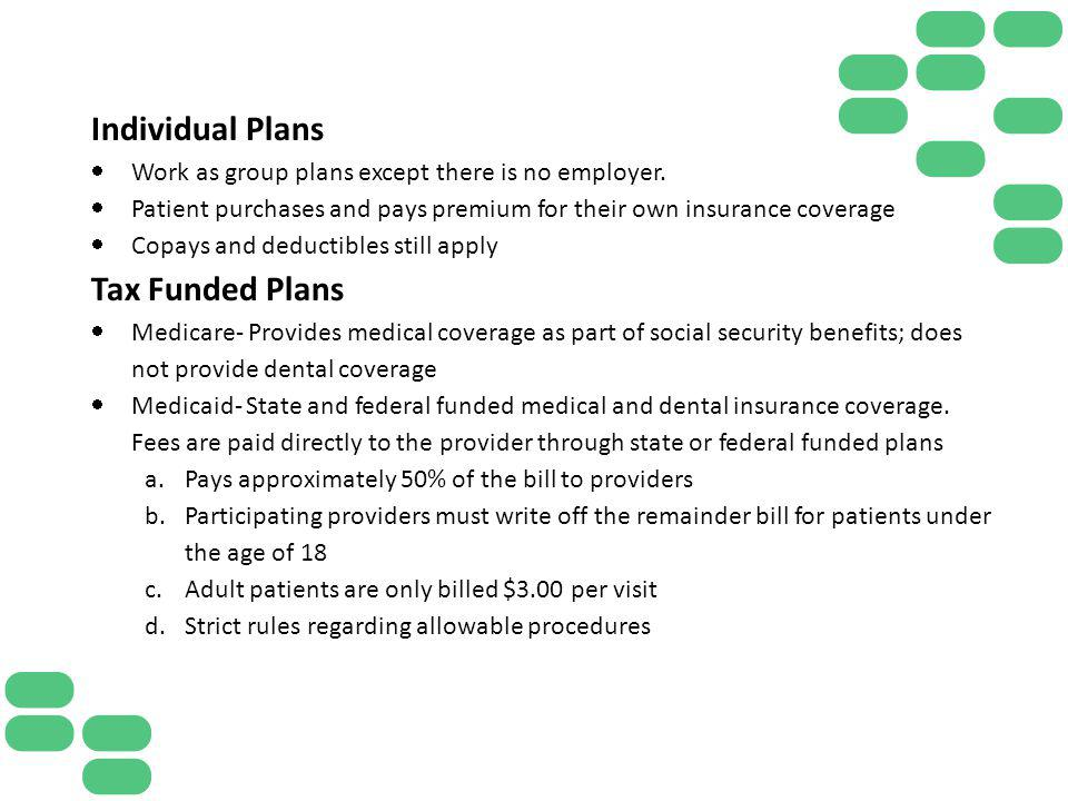 Individual Plans Work as group plans except there is no employer. Patient purchases and pays premium for their own insurance coverage Copays and deduc