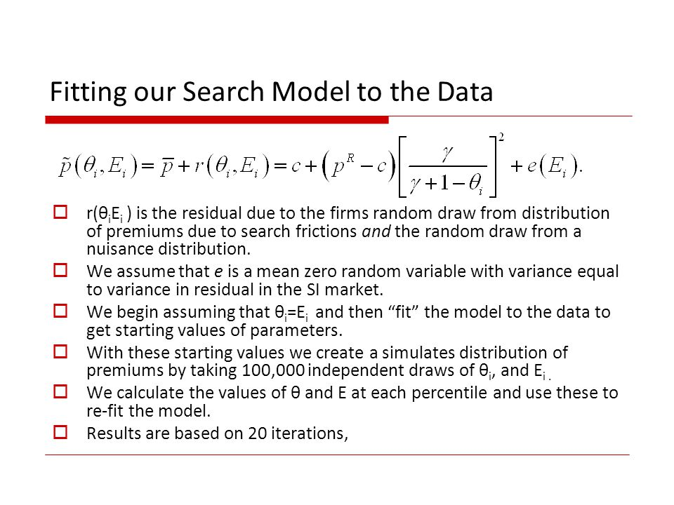 Fitting our Search Model to the Data r(θ i E i ) is the residual due to the firms random draw from distribution of premiums due to search frictions and the random draw from a nuisance distribution.