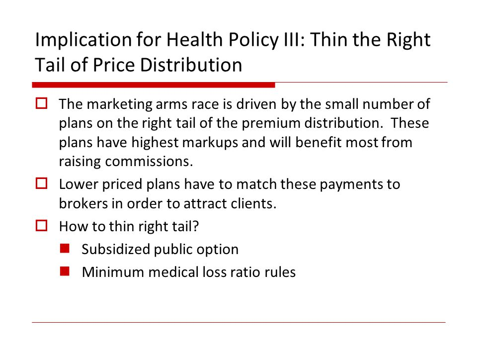 Implication for Health Policy III: Thin the Right Tail of Price Distribution The marketing arms race is driven by the small number of plans on the right tail of the premium distribution.