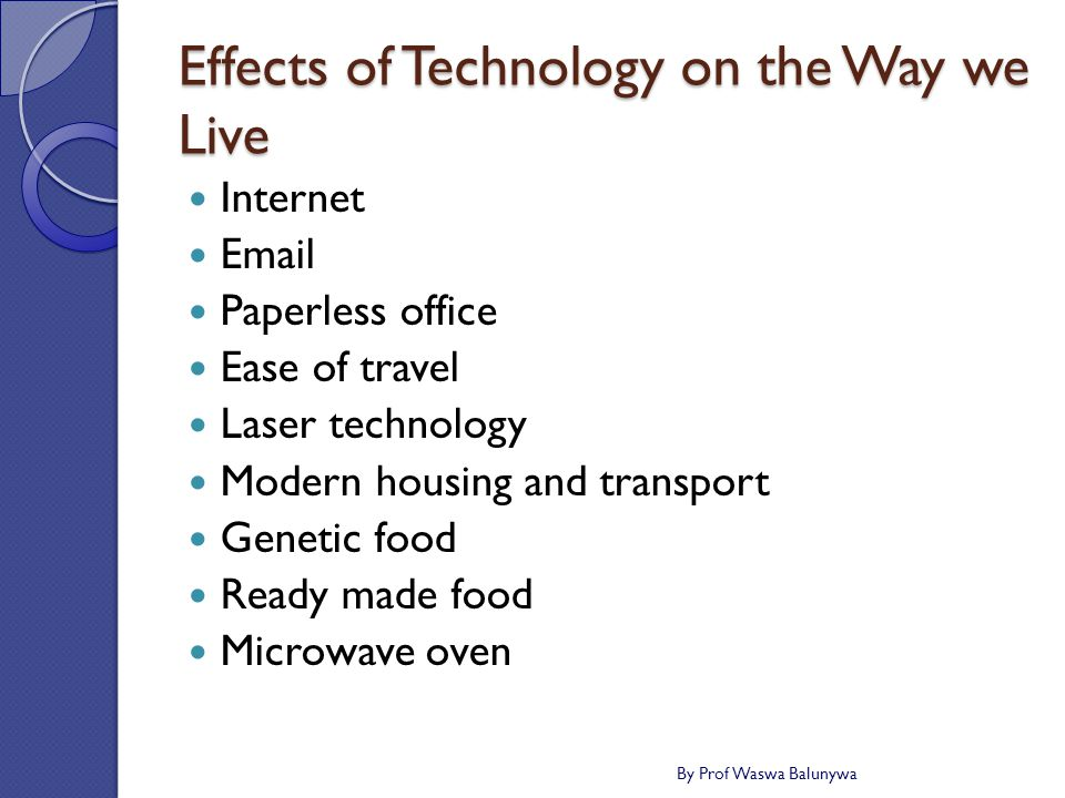 Effects of Technology on the Way we Live Internet Email Paperless office Ease of travel Laser technology Modern housing and transport Genetic food Ready made food Microwave oven By Prof Waswa Balunywa