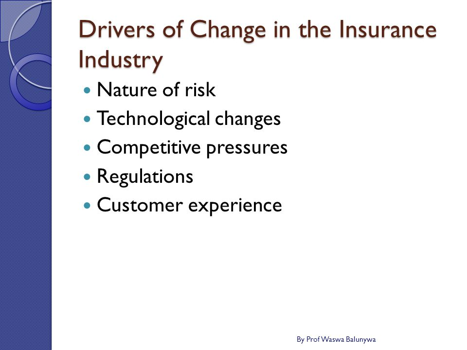 Drivers of Change in the Insurance Industry Nature of risk Technological changes Competitive pressures Regulations Customer experience By Prof Waswa Balunywa
