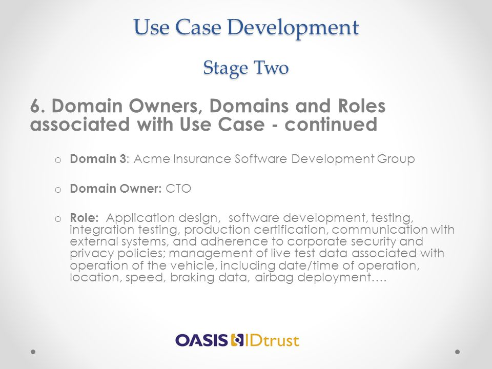 Use Case Development Stage Two 6. Domain Owners, Domains and Roles associated with Use Case - continued o Domain 3 : Acme Insurance Software Developme