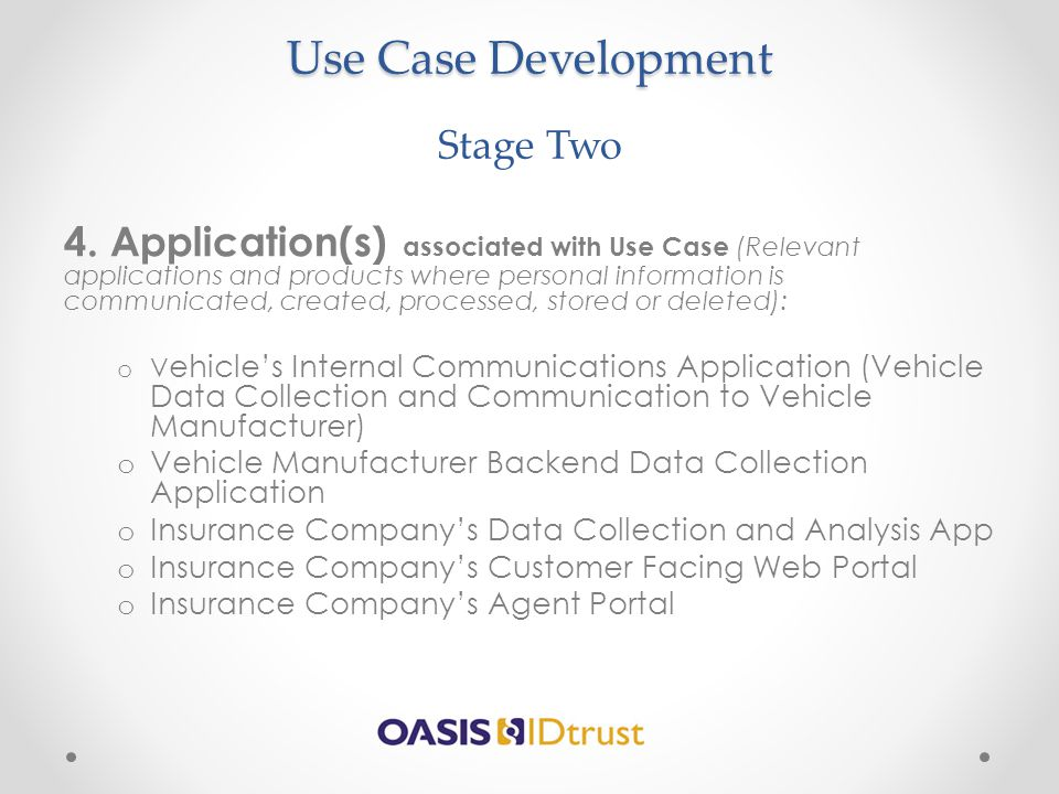 Use Case Development Use Case Development Stage Two 4. Application(s) associated with Use Case (Relevant applications and products where personal info