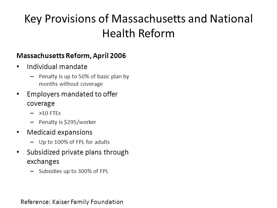 Key Provisions of Massachusetts and National Health Reform Massachusetts Reform, April 2006 Individual mandate – Penalty is up to 50% of basic plan by months without coverage Employers mandated to offer coverage – >10 FTEs – Penalty is $295/worker Medicaid expansions – Up to 100% of FPL for adults Subsidized private plans through exchanges – Subsidies up to 300% of FPL Reference: Kaiser Family Foundation