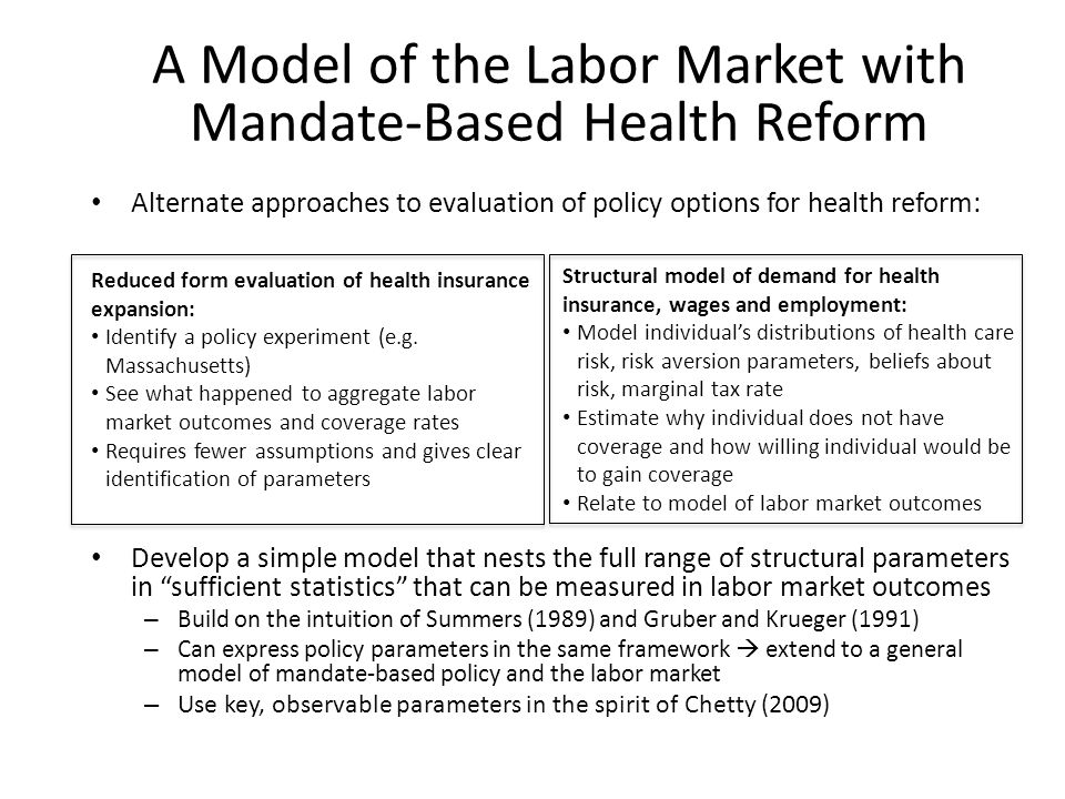 A Model of the Labor Market with Mandate-Based Health Reform Alternate approaches to evaluation of policy options for health reform: Develop a simple model that nests the full range of structural parameters in sufficient statistics that can be measured in labor market outcomes – Build on the intuition of Summers (1989) and Gruber and Krueger (1991) – Can express policy parameters in the same framework extend to a general model of mandate-based policy and the labor market – Use key, observable parameters in the spirit of Chetty (2009) Reduced form evaluation of health insurance expansion: Identify a policy experiment (e.g.
