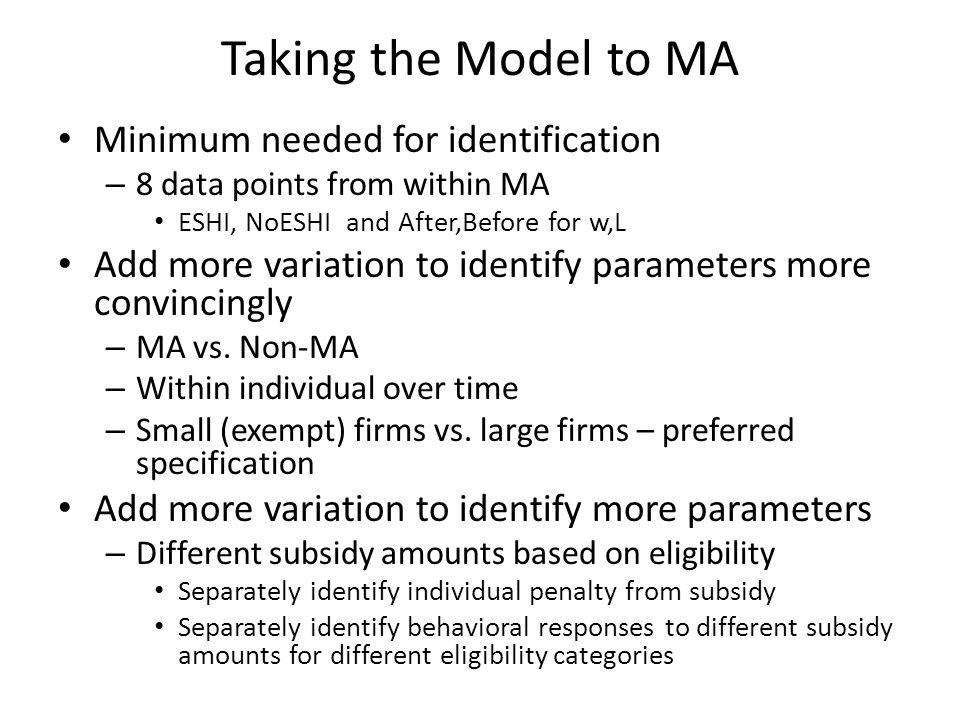 Taking the Model to MA Minimum needed for identification – 8 data points from within MA ESHI, NoESHI and After,Before for w,L Add more variation to id