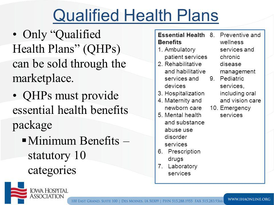 Qualified Health Plans Only Qualified Health Plans (QHPs) can be sold through the marketplace. QHPs must provide essential health benefits package Min