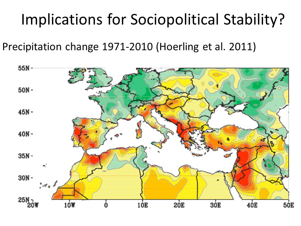 Implications for Sociopolitical Stability Precipitation change 1971-2010 (Hoerling et al. 2011)