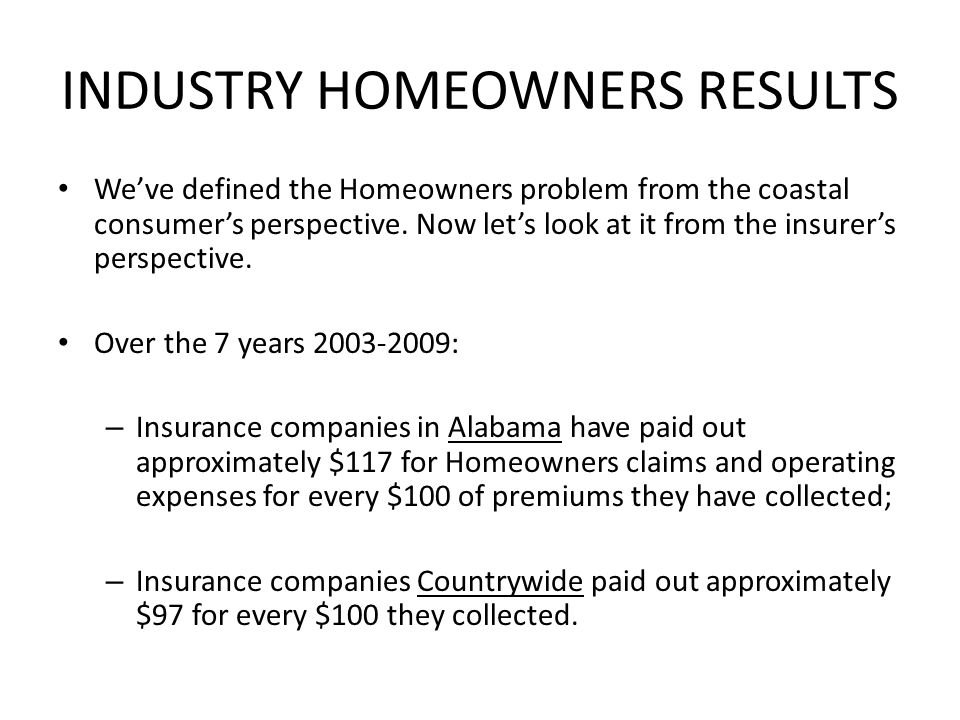 INDUSTRY HOMEOWNERS RESULTS Weve defined the Homeowners problem from the coastal consumers perspective.