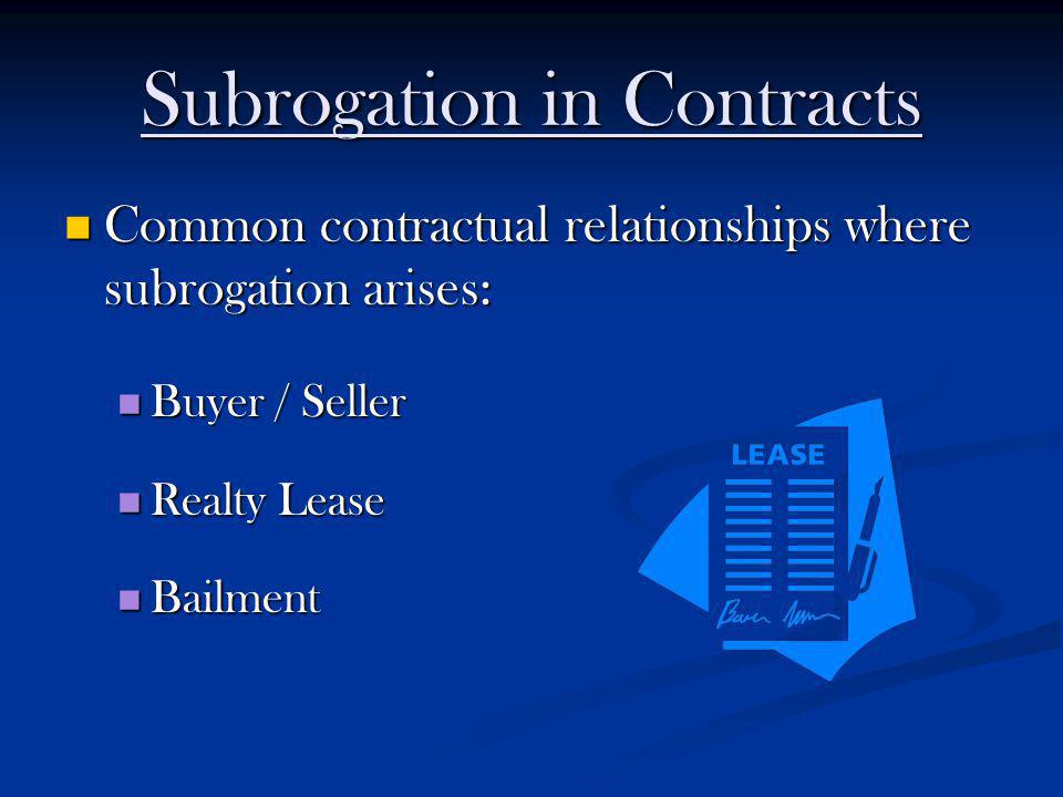 Subrogation in Contracts Common contractual relationships where subrogation arises: Common contractual relationships where subrogation arises: Buyer /
