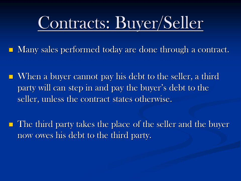 Contracts: Buyer/Seller Many sales performed today are done through a contract. Many sales performed today are done through a contract. When a buyer c
