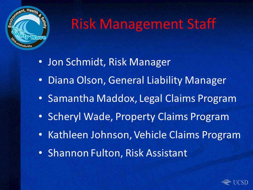 Risk Management Staff Jon Schmidt, Risk Manager Diana Olson, General Liability Manager Samantha Maddox, Legal Claims Program Scheryl Wade, Property Claims Program Kathleen Johnson, Vehicle Claims Program Shannon Fulton, Risk Assistant