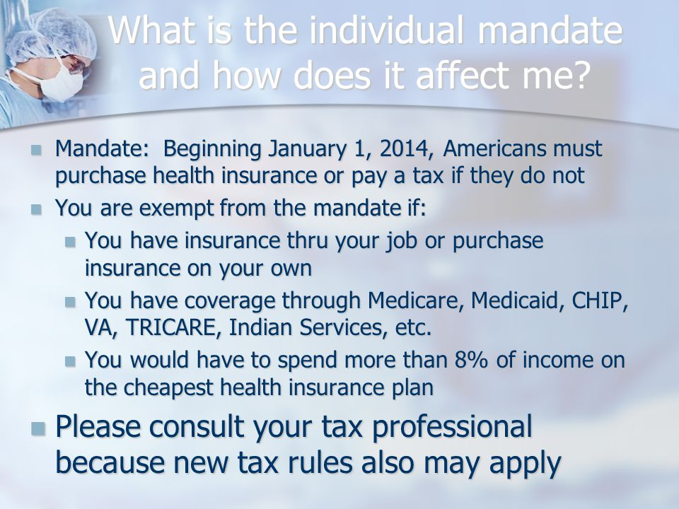 What is the individual mandate and how does it affect me.