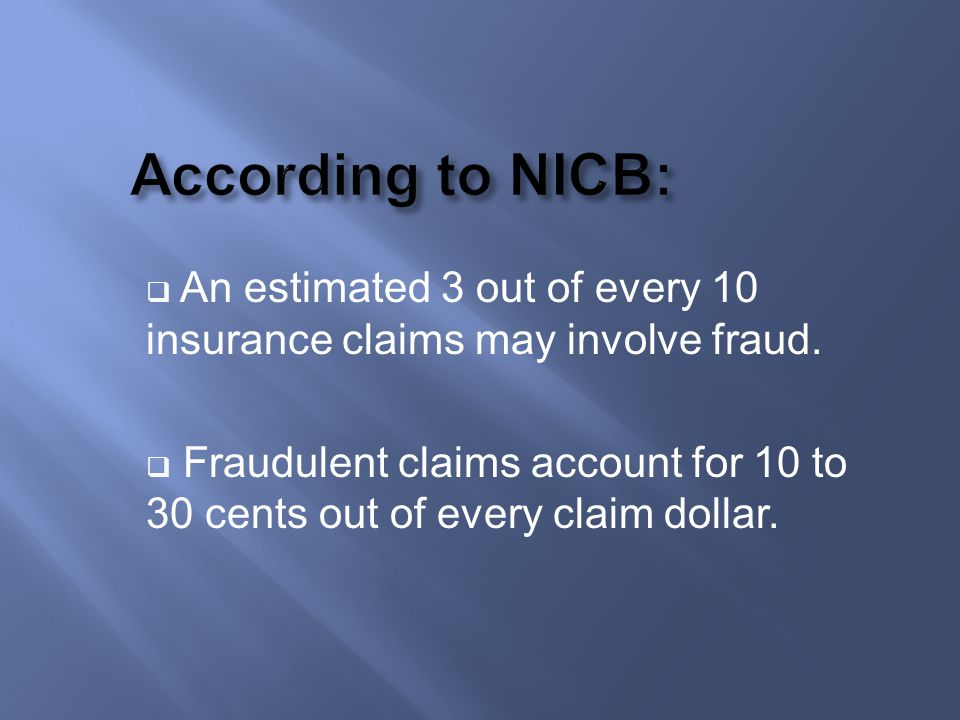 An estimated 3 out of every 10 insurance claims may involve fraud. Fraudulent claims account for 10 to 30 cents out of every claim dollar.