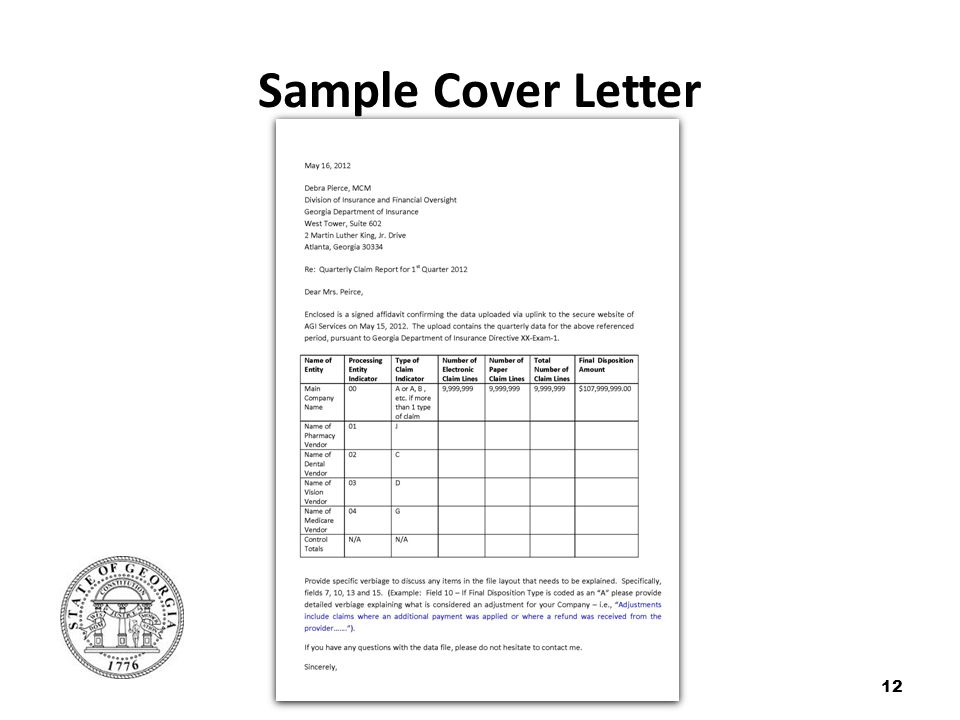 Sample Cover Letter 12
