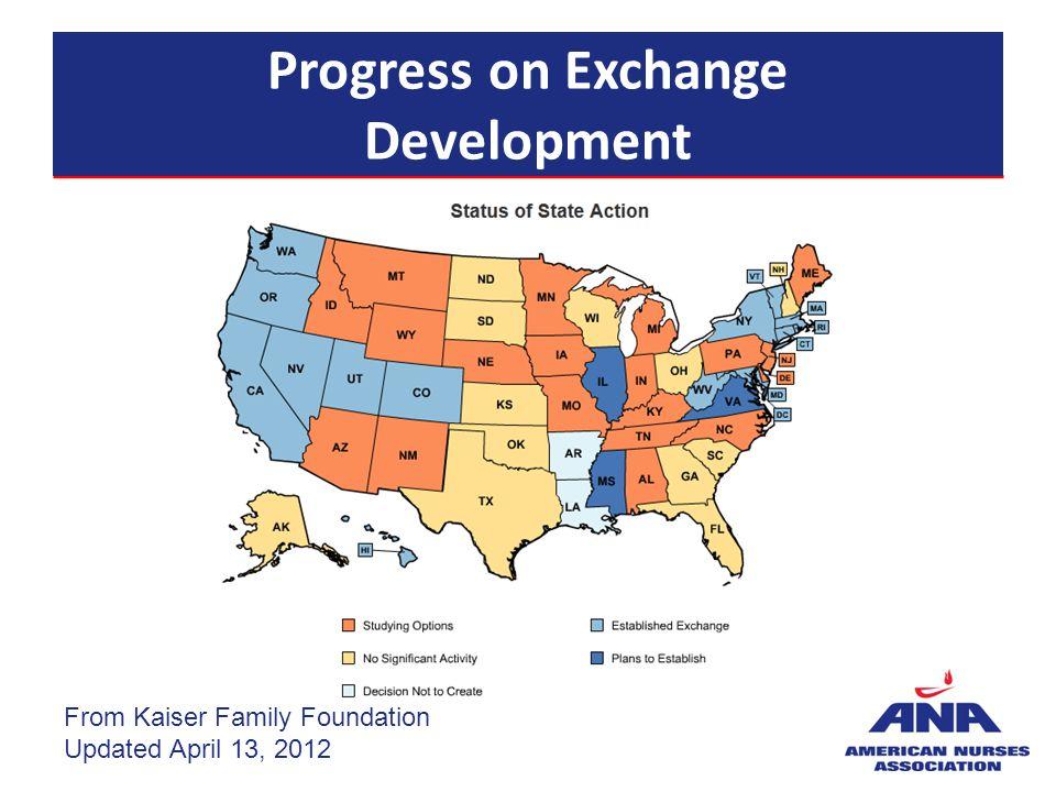 Progress on Exchange Development From Kaiser Family Foundation Updated April 13, 2012