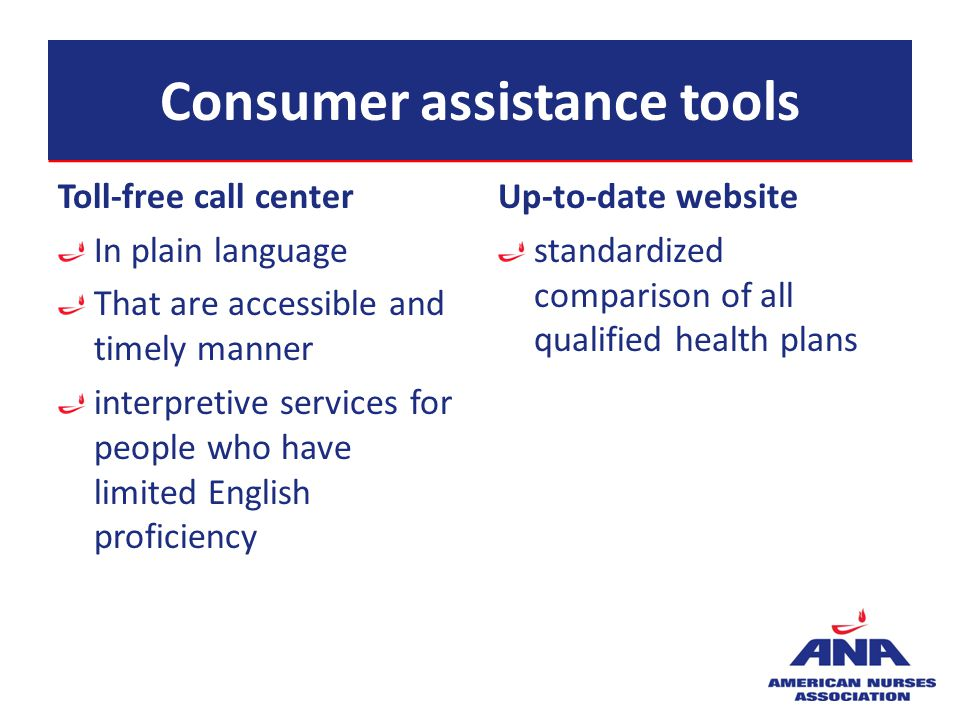 Consumer assistance tools Toll-free call center In plain language That are accessible and timely manner interpretive services for people who have limi
