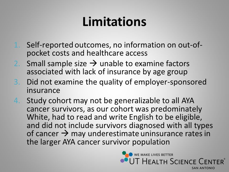 Limitations 1.Self-reported outcomes, no information on out-of- pocket costs and healthcare access 2.Small sample size unable to examine factors assoc