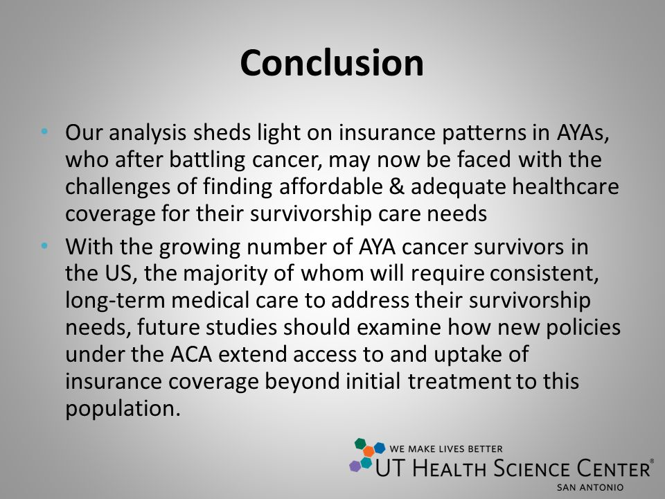 Conclusion Our analysis sheds light on insurance patterns in AYAs, who after battling cancer, may now be faced with the challenges of finding affordab
