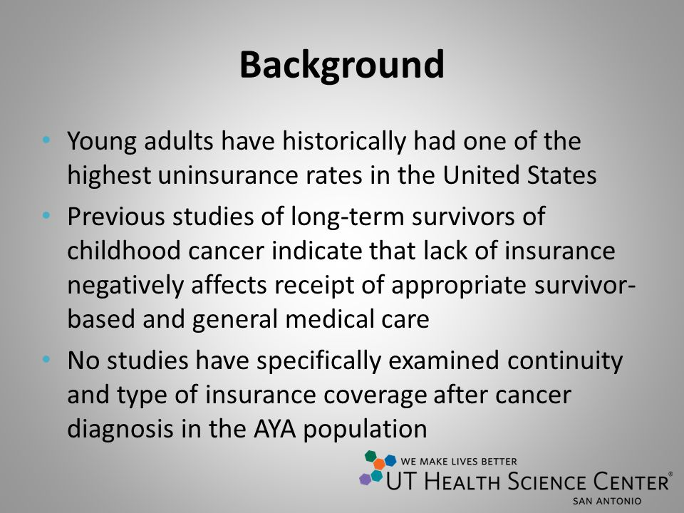 Background Young adults have historically had one of the highest uninsurance rates in the United States Previous studies of long-term survivors of childhood cancer indicate that lack of insurance negatively affects receipt of appropriate survivor- based and general medical care No studies have specifically examined continuity and type of insurance coverage after cancer diagnosis in the AYA population