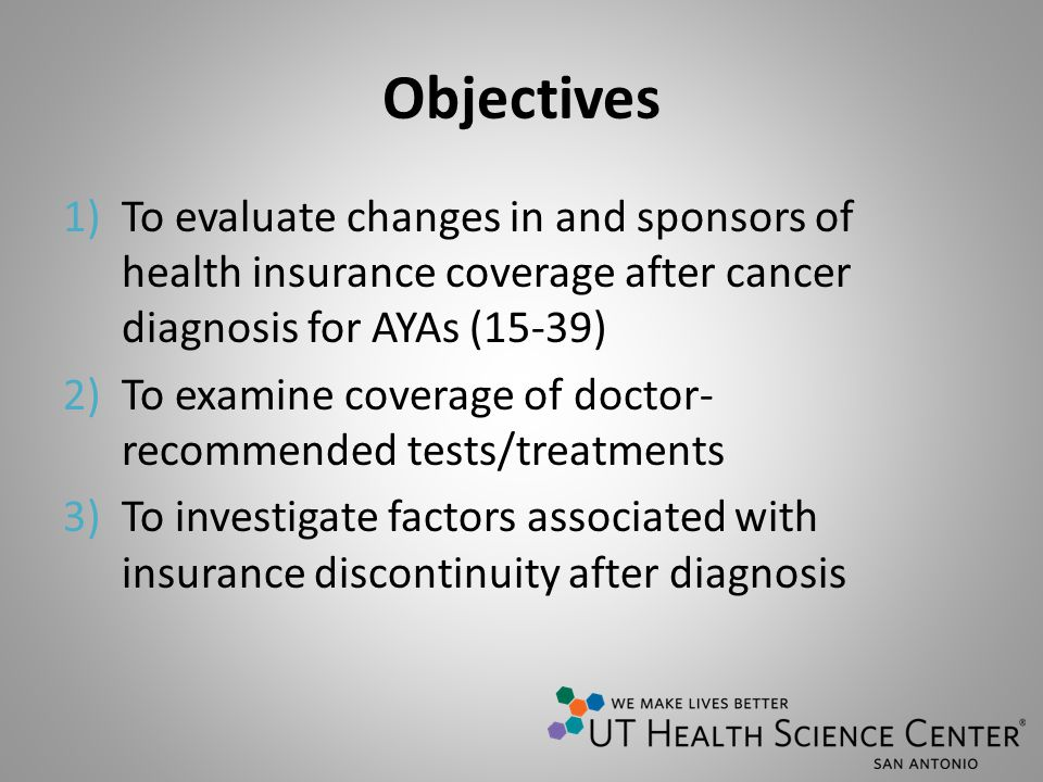 Objectives 1)To evaluate changes in and sponsors of health insurance coverage after cancer diagnosis for AYAs (15-39) 2)To examine coverage of doctor-