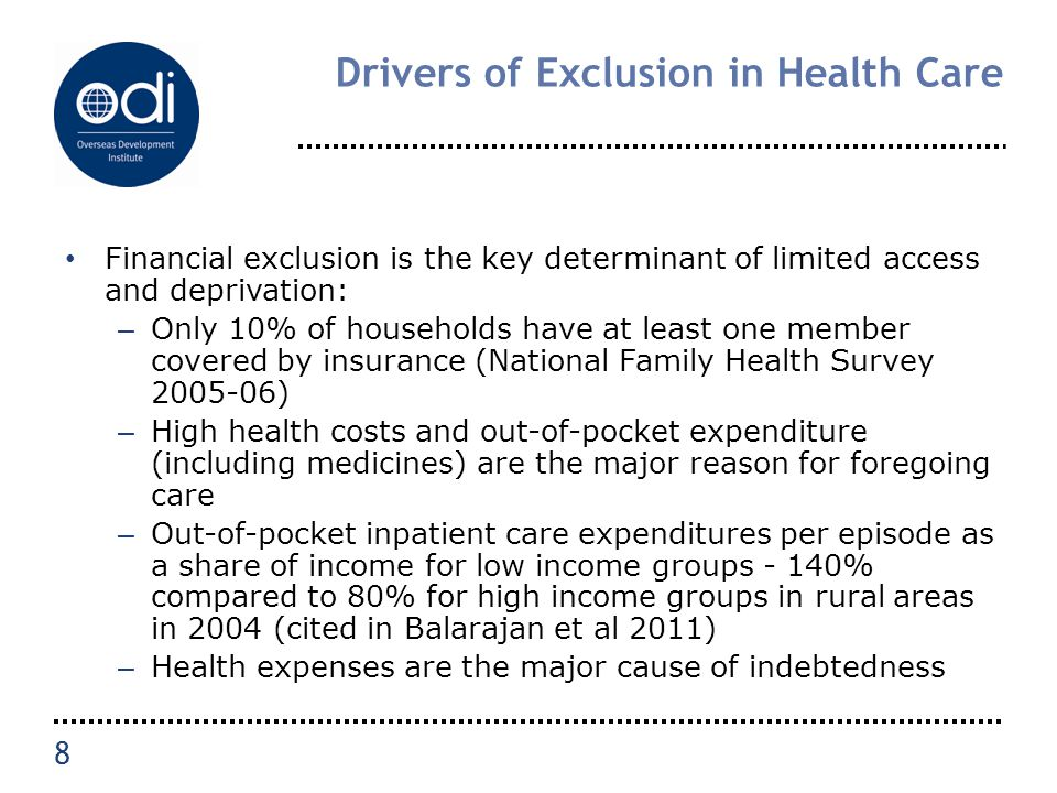 Drivers of Exclusion in Health Care Financial exclusion is the key determinant of limited access and deprivation: – Only 10% of households have at lea