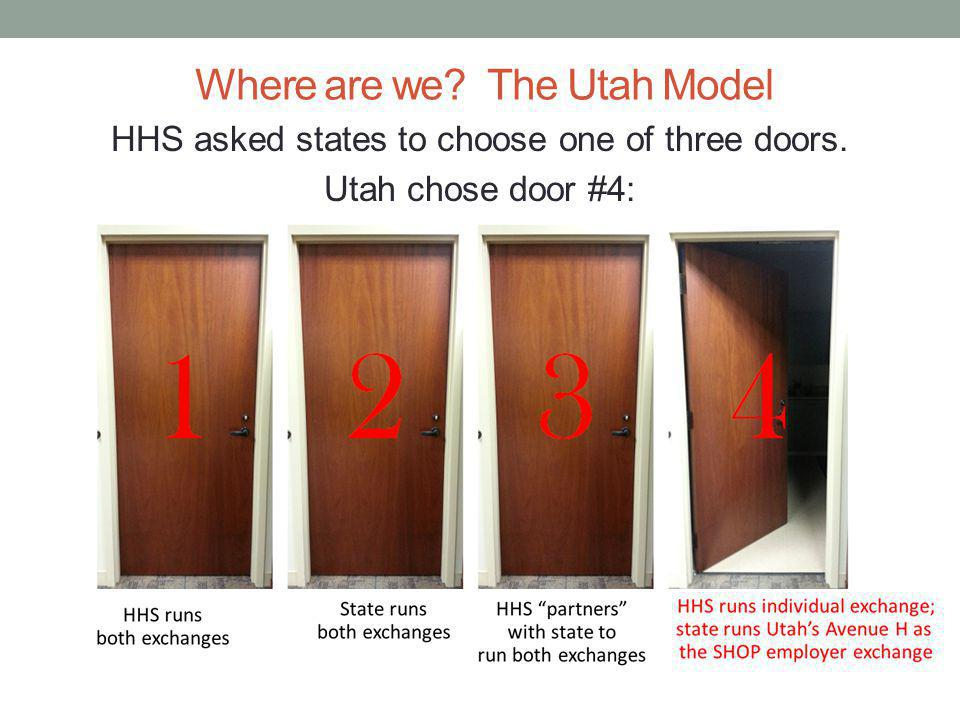 Where are we The Utah Model HHS asked states to choose one of three doors. Utah chose door #4: