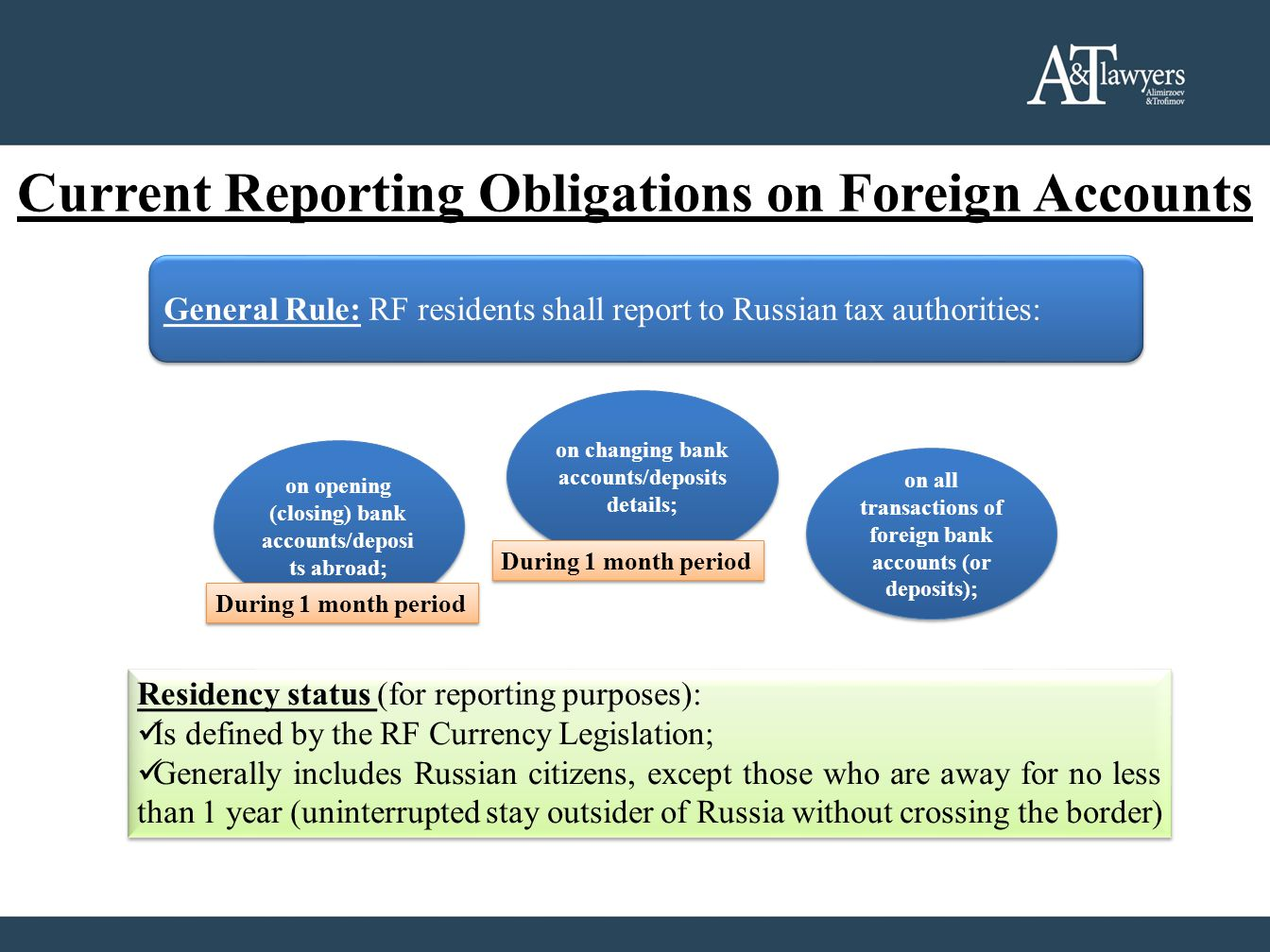 Current Reporting Obligations on Foreign Accounts Residency status (for reporting purposes): Is defined by the RF Currency Legislation; Generally incl