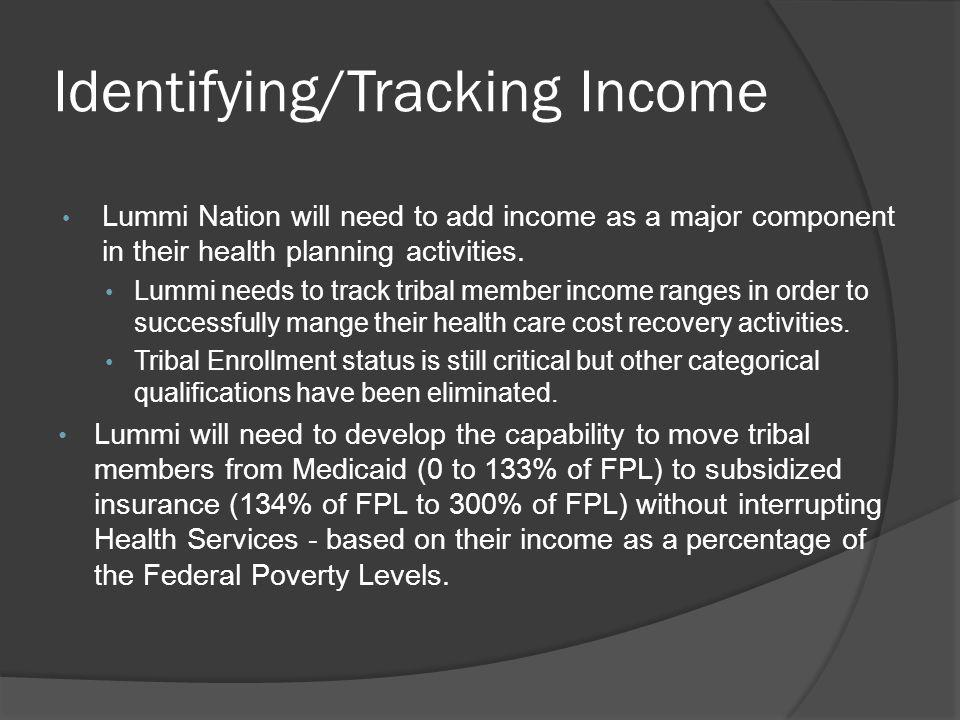 Identifying/Tracking Income Lummi Nation will need to add income as a major component in their health planning activities. Lummi needs to track tribal