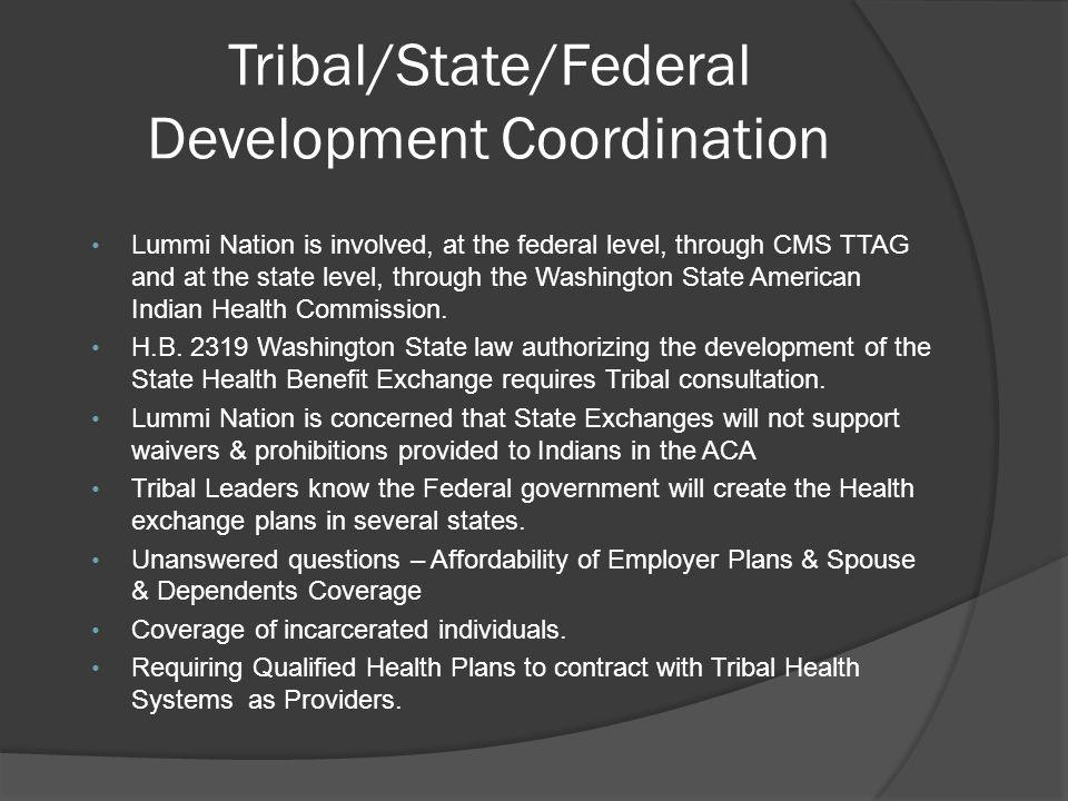 Tribal/State/Federal Development Coordination Lummi Nation is involved, at the federal level, through CMS TTAG and at the state level, through the Was