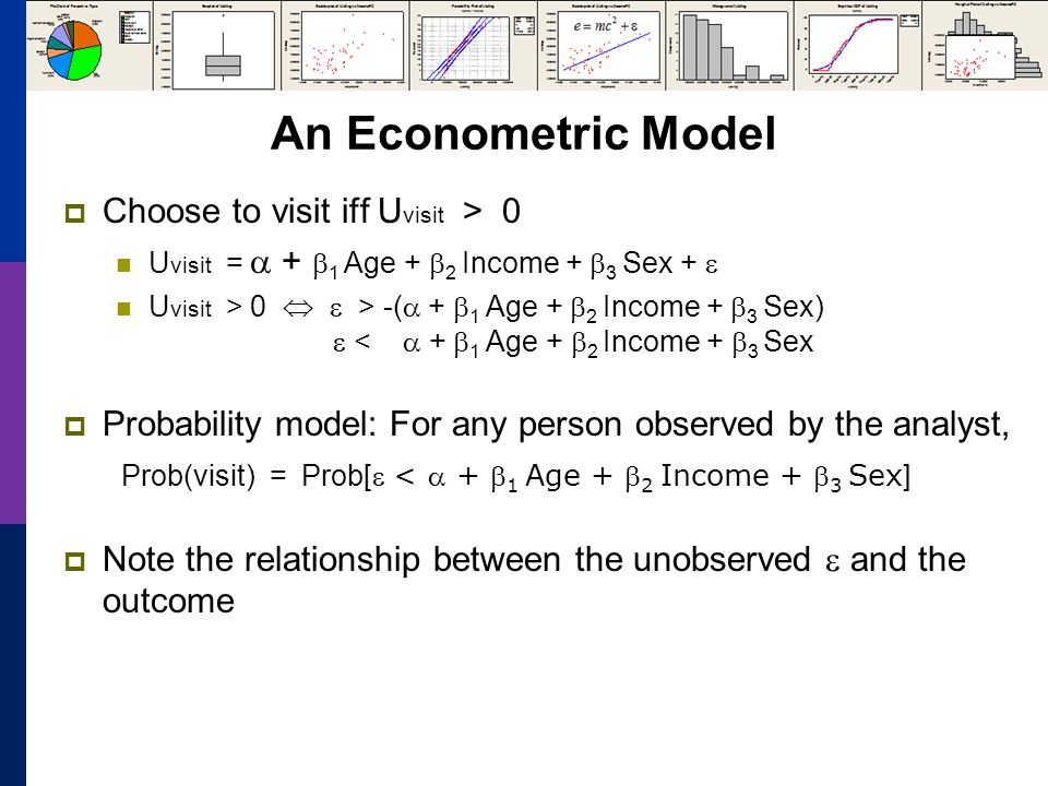 An Econometric Model Choose to visit iff U visit > 0 U visit = + 1 Age + 2 Income + 3 Sex + U visit > 0 > -( + 1 Age + 2 Income + 3 Sex) < + 1 Age + 2