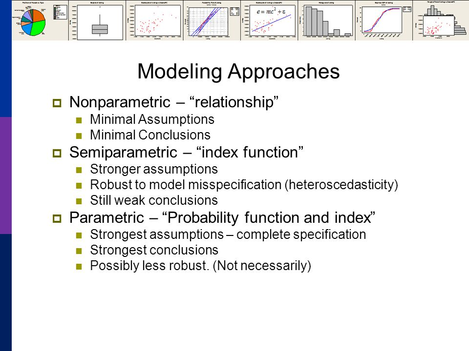 Modeling Approaches Nonparametric – relationship Minimal Assumptions Minimal Conclusions Semiparametric – index function Stronger assumptions Robust to model misspecification (heteroscedasticity) Still weak conclusions Parametric – Probability function and index Strongest assumptions – complete specification Strongest conclusions Possibly less robust.