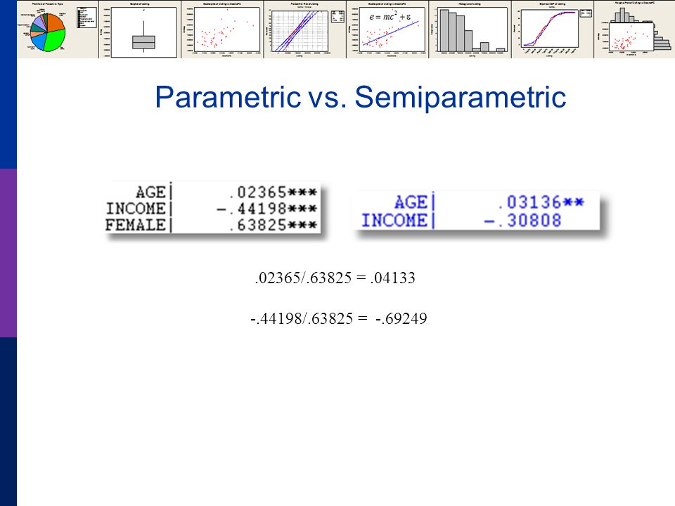 Parametric vs. Semiparametric.02365/.63825 =.04133 -.44198/.63825 = -.69249