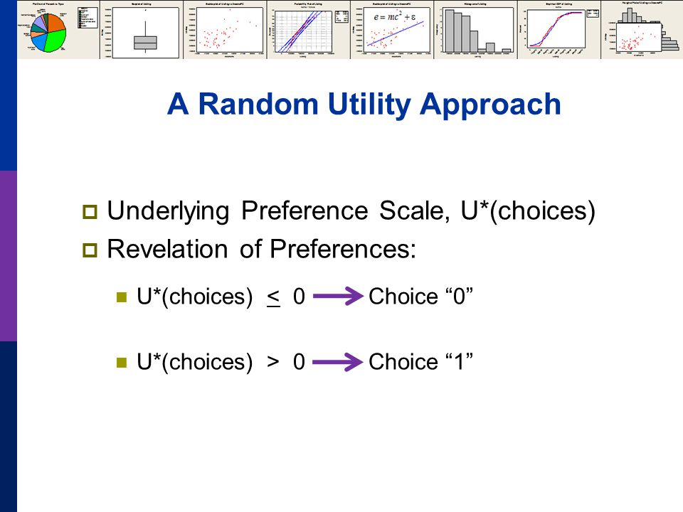 A Random Utility Approach Underlying Preference Scale, U*(choices) Revelation of Preferences: U*(choices) < 0 Choice 0 U*(choices) > 0 Choice 1