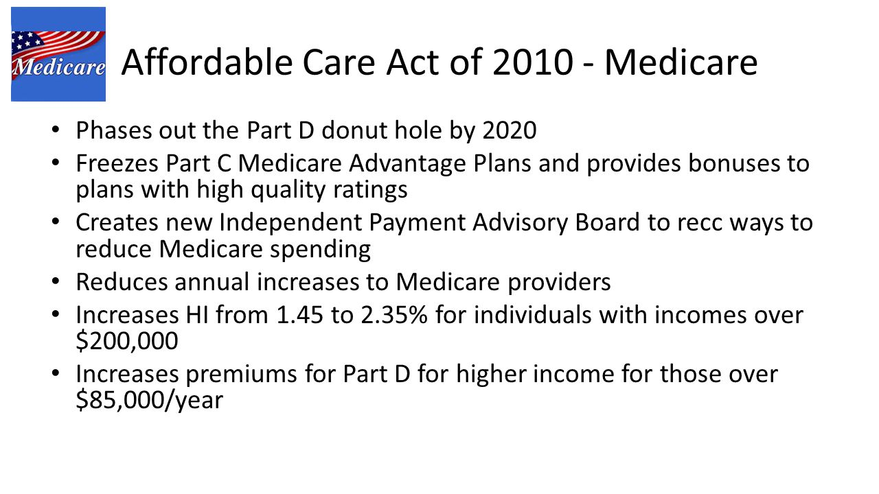 Affordable Care Act of 2010 - Medicare Phases out the Part D donut hole by 2020 Freezes Part C Medicare Advantage Plans and provides bonuses to plans with high quality ratings Creates new Independent Payment Advisory Board to recc ways to reduce Medicare spending Reduces annual increases to Medicare providers Increases HI from 1.45 to 2.35% for individuals with incomes over $200,000 Increases premiums for Part D for higher income for those over $85,000/year