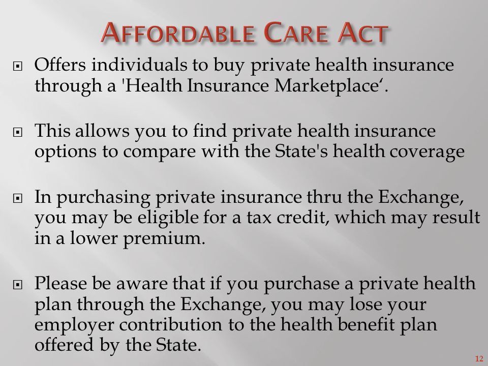 12 Offers individuals to buy private health insurance through a Health Insurance Marketplace.