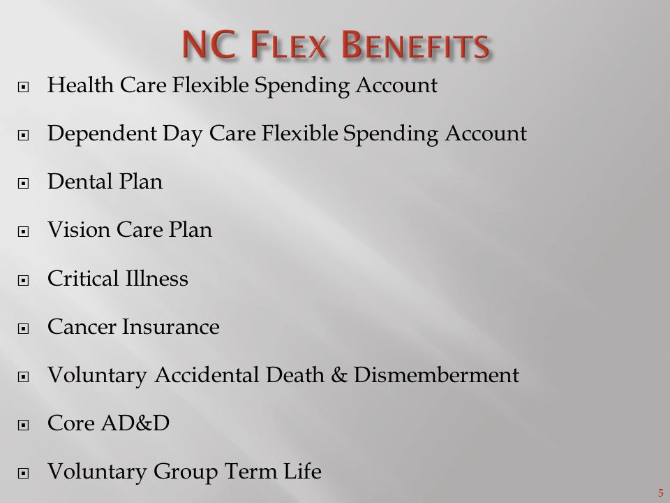 5 Health Care Flexible Spending Account Dependent Day Care Flexible Spending Account Dental Plan Vision Care Plan Critical Illness Cancer Insurance Voluntary Accidental Death & Dismemberment Core AD&D Voluntary Group Term Life