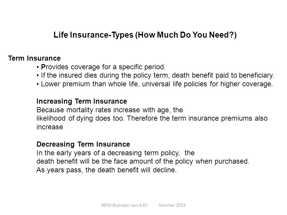 Life Insurance-Types (How Much Do You Need?) Term Insurance Provides coverage for a specific period. If the insured dies during the policy term, death