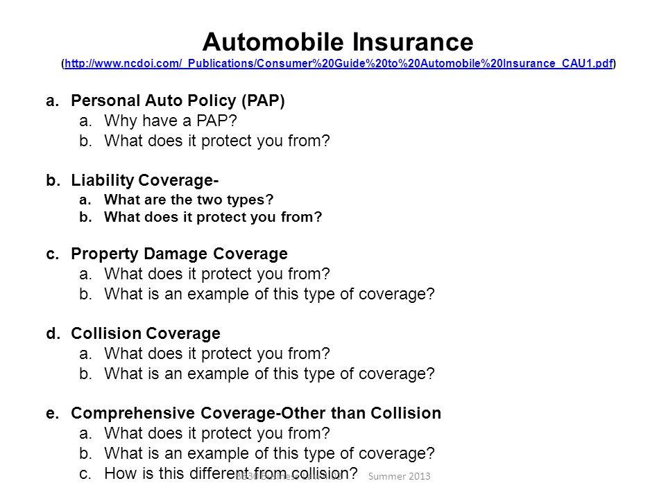 Automobile Insurance (http://www.ncdoi.com/_Publications/Consumer%20Guide%20to%20Automobile%20Insurance_CAU1.pdf)http://www.ncdoi.com/_Publications/Co