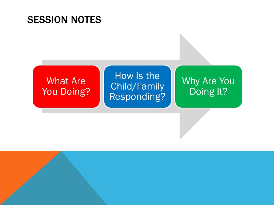 SESSION NOTES What Are You Doing? How Is the Child/Family Responding? Why Are You Doing It?