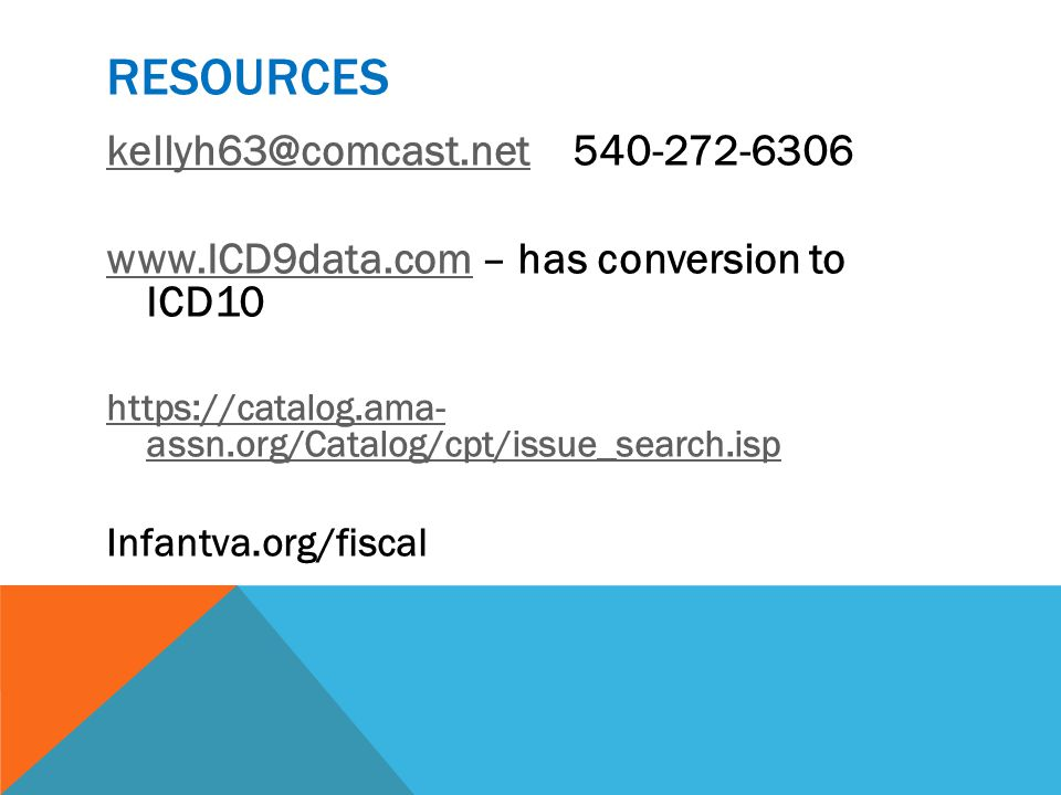 RESOURCES kellyh63@comcast.netkellyh63@comcast.net 540-272-6306 www.ICD9data.comwww.ICD9data.com – has conversion to ICD10 https://catalog.ama- assn.o