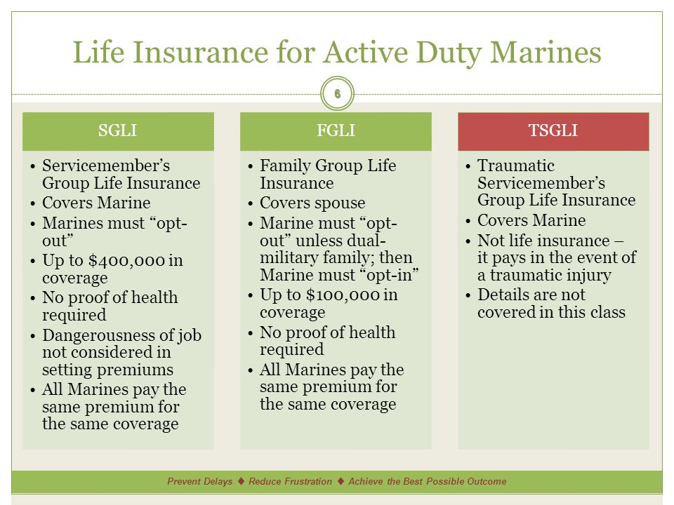 Prevent Delays Reduce Frustration Achieve the Best Possible Outcome Life Insurance for Active Duty Marines SGLI Servicemembers Group Life Insurance Covers Marine Marines must opt- out Up to $400,000 in coverage No proof of health required Dangerousness of job not considered in setting premiums All Marines pay the same premium for the same coverage FGLI Family Group Life Insurance Covers spouse Marine must opt- out unless dual- military family; then Marine must opt-in Up to $100,000 in coverage No proof of health required All Marines pay the same premium for the same coverage TSGLI Traumatic Servicemembers Group Life Insurance Covers Marine Not life insurance – it pays in the event of a traumatic injury Details are not covered in this class 6
