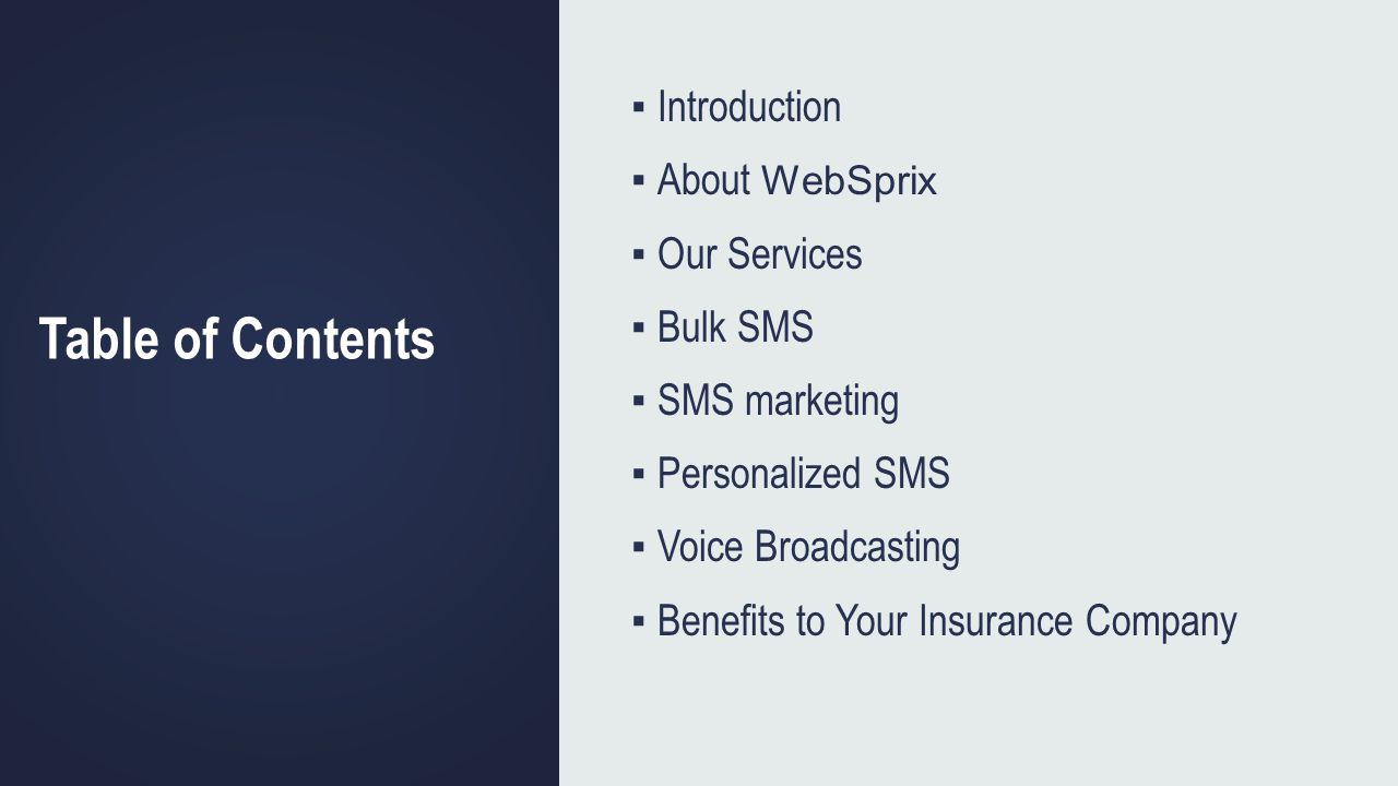 Table of Contents Introduction About WebSprix Our Services Bulk SMS SMS marketing Personalized SMS Voice Broadcasting Benefits to Your Insurance Compa