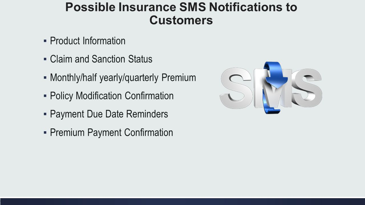 Possible Insurance SMS Notifications to Customers Product Information Claim and Sanction Status Monthly/half yearly/quarterly Premium Policy Modificat
